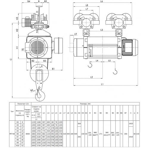 Тельфер МТ 740 H52 V1 2/1 EN Балканско Ехо ЕООД г/п 8 в/п 52