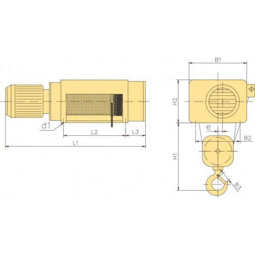 Тельфер стационарный МРМ625-12,5-4/1 YANTRA г/п 10,0 в/п 12,5
