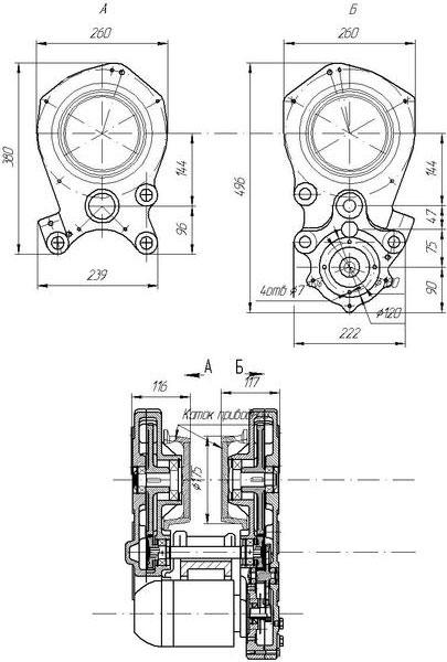 Чертежная схема редуктора РВЦ 320